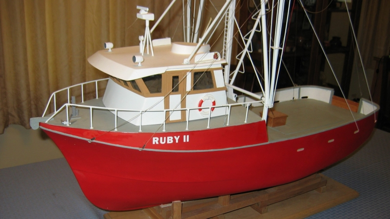 The finished model was then presented to the new owner of a full size boat