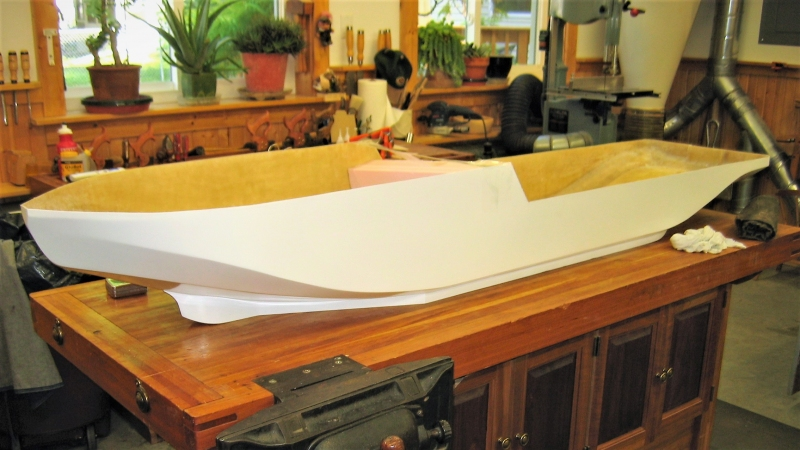 "The hull is fiberglass from Loyalhanna at a scale of 1/32.  It is 83"" long and 18"" wide."